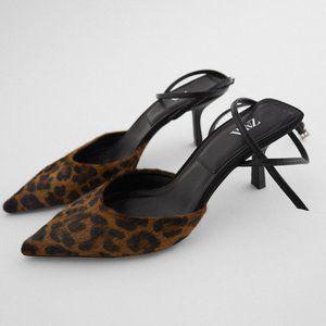 NEW Zara Leather Leopard Pointy Toe Heel Shoes 36